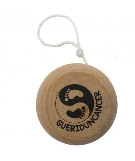 Yoyo en bois marqué ''Guéri d'un Cancer'' - Personnalisation avec marquage de logo