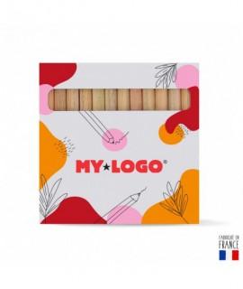 Boîte de 12 crayons de couleurs publicitaires