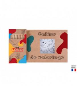 Kit publicitaire de 12 coloriages avec 6 crayons à personnaliser d'un logo