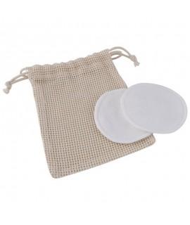 Pocket with a logo containing reusable make-up remover discs