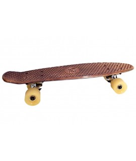 Beautiful custom metallic skateboard for IKKS by Marketing Creation. Cruiser with bronze-colored metal veneer.
