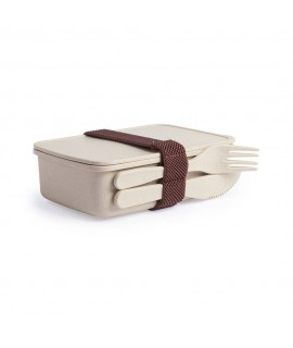 Logo customised lunch box, made of bamboo fibers, built-in knife and fork