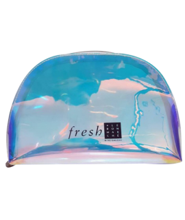 A holographic and transparent pouch marked with the Fresh logo, sold at Sephora. Fresh beauty kit.