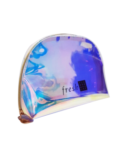 Iridescent pouch with Fresh logo, sold in the Le Bon Marché brand. Kit filled with Fresh products.