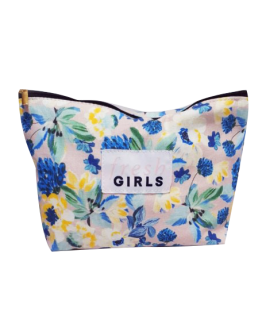 Customizable floral pouch. Version created for Sephora with sewn label of the Fresh and Girls logo