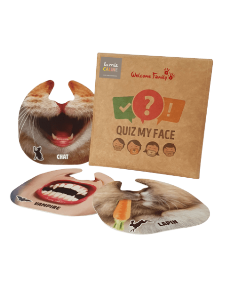 My Face Quiz pocket-sized version 12 masks for La Mie Câline. The famous Customizable Deduction and Reflection Game.