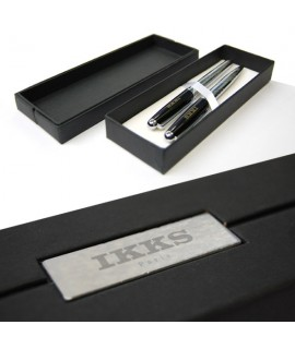 Coffret stylos personnalisé en acier pour IKKS - stylos personnalisables enfant - goodies écriture