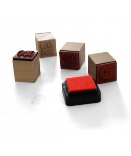 tampons personnalisés en bois avec encrier - Tampon en bois publicitaire