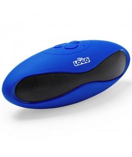 Enceinte sans fil bleue personnalisable avec un logo, objet pub high tech
