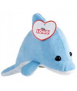 Peluche dauphin personnalisable bleue et blanche, goodies enfants pour l'été